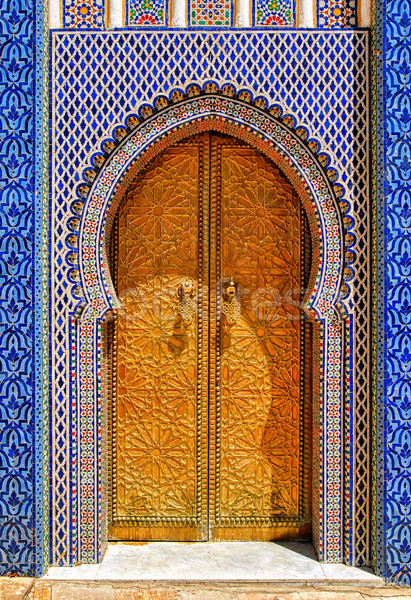The ornamented golden door, Fes, Morocco Stock photo © Xantana