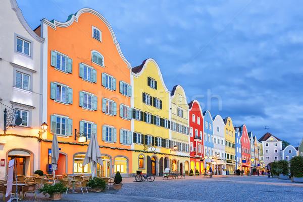 Stock fotó: Gótikus · óváros · színes · hagyományos · házak · égbolt