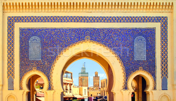 Blue Gate Bab Boujelud in Fes, Morocco Stock photo © Xantana