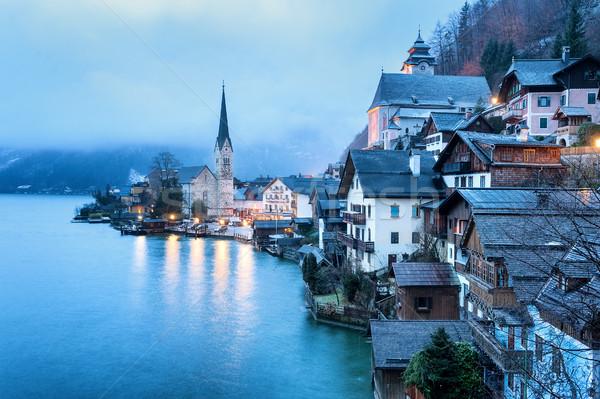 Austria misty mattina luce blu unesco Foto d'archivio © Xantana