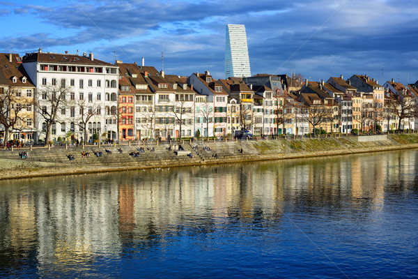 Houses along the Rhine river with Roche Tower in background, Basel Stock photo © Xantana