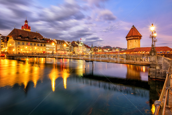 Old town of Lucerne, Switzerland, in the evening light Stock photo © Xantana