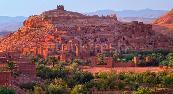 Marrocos noite sol edifício pôr do sol Foto stock © Xantana