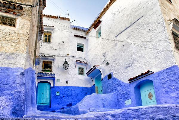 青 町 モロッコ 伝統的な 描いた 家 ストックフォト © Xantana