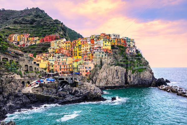 Színes házak kő Olaszország hagyományos mediterrán Stock fotó © Xantana