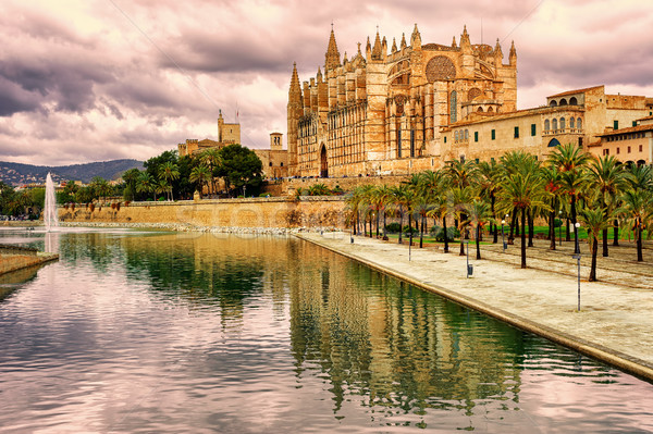 La Seu, the cathedral of Palma de Mallorca, Spain, in sunset light Stock photo © Xantana