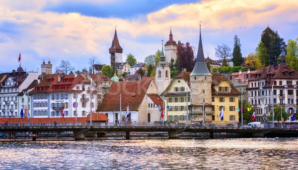 Medievale torri città vecchia storico acqua edifici Foto d'archivio © Xantana