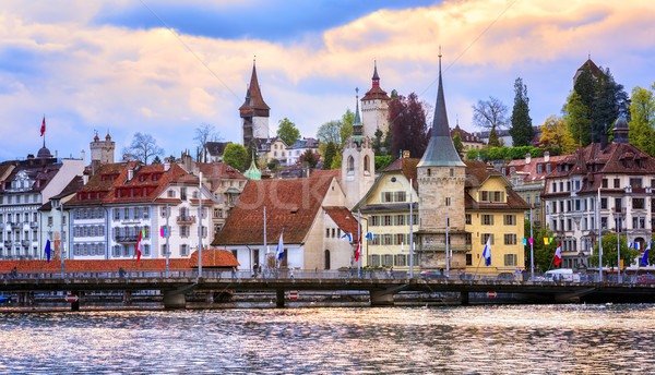 Medieval torres cidade velha histórico água edifícios Foto stock © Xantana