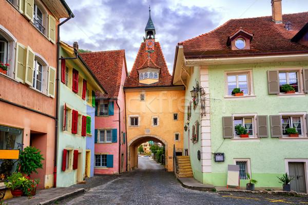 Colorful houses in Saint Ursanne, Jura, Switzerland Stock photo © Xantana