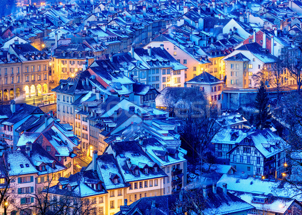 Bern Old Town snow covered in winter, Switzerland Stock photo © Xantana