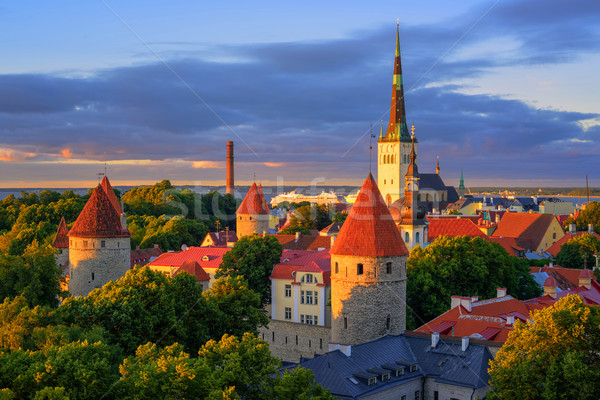 Medieval churches and towers in the old town of Tallinn, Estonia Stock photo © Xantana