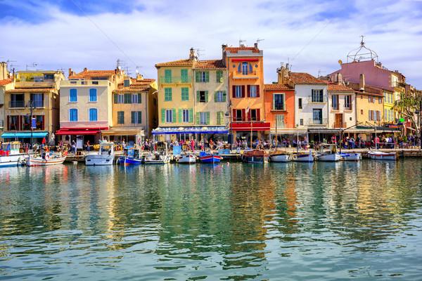 Puerto barrio antiguo Francia colorido tradicional casas Foto stock © Xantana