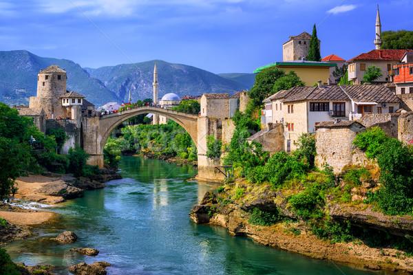 Old Bridge Stari Most in Mostar, Bosnia and Herzegovina Stock photo © Xantana