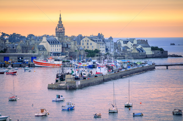 Sunset over the port of Roscoff, Brittany, France Stock photo © Xantana