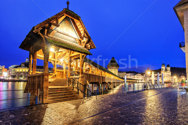 Lucerne, Switzerland, entrance to wooden Chapel Bridge Stock photo © Xantana