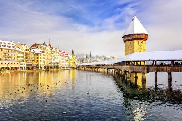 часовня моста воды башни зима день Сток-фото © Xantana
