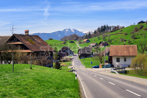 Landscape with a little village in central Switzerland Stock photo © Xantana