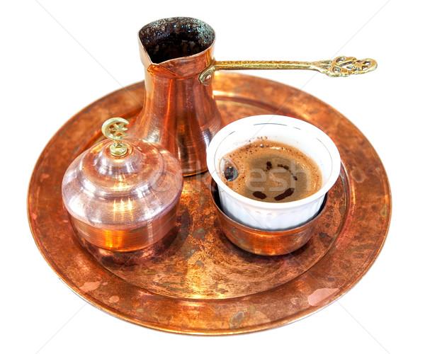 Turco café establecer aislado blanco latón Foto stock © Xantana