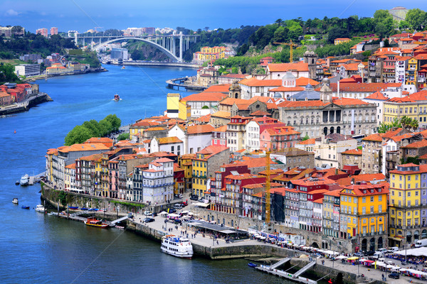Ribeira, the old town of Porto, and the river Douro, Portugal Stock photo © Xantana