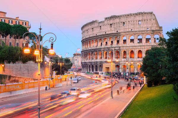 Colosseum gün batımı ören şehir sokak Stok fotoğraf © Xantana
