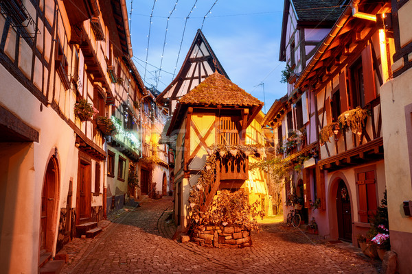 Traditional half timbered houses in Eguisheim by Colmar, Alsace, Stock photo © Xantana