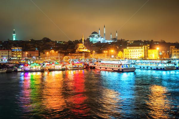 Hal csónak éttermek arany duda éjszaka Stock fotó © Xantana
