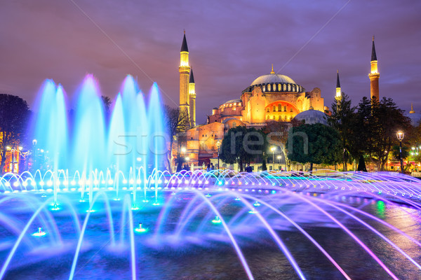 Hagia Sophia illuminated at evening, Istanbul, Turkey Stock photo © Xantana