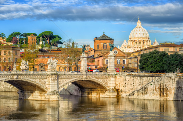 Tiber bridge and Dome of Vatican cathedral, Rome, Italy Stock photo © Xantana