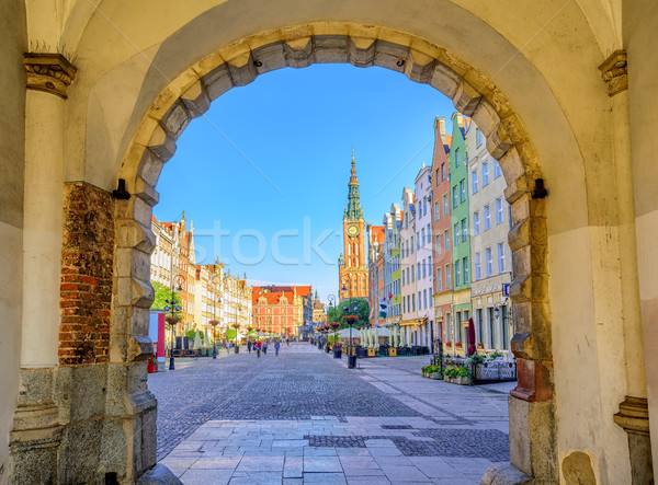 Colorful gothic facades int the old town of Gdansk, Poland Stock photo © Xantana