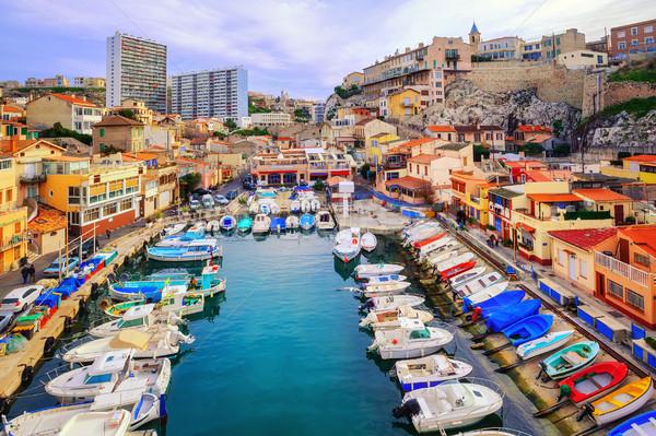 Színes jacht kikötő öreg város kicsi Stock fotó © Xantana