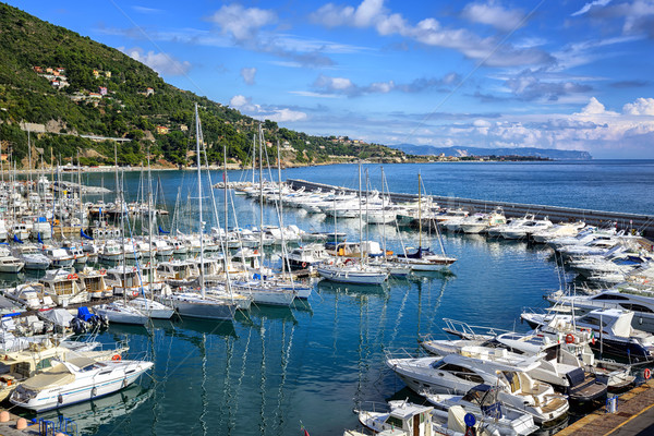 White yachts docked in port of Alassio on Riviera, Italy Stock photo © Xantana