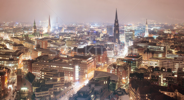 Skyline amburgo Germania notte vecchio città Foto d'archivio © Xantana