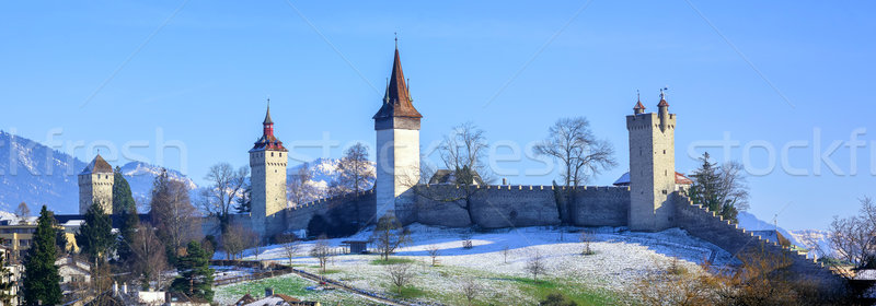 Medieval city walls with towers in Lucerne, Switzerland Stock photo © Xantana