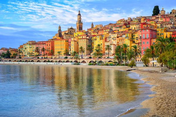 Colorful medieval town Menton on Riviera, Mediterranean sea, Fra Stock photo © Xantana