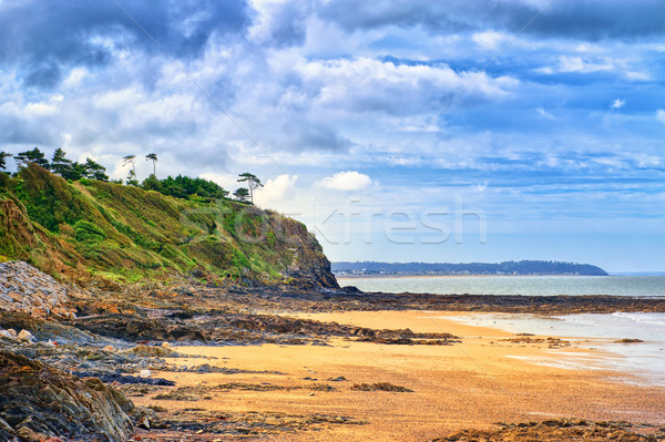 Stock photo: Desolated atlantic beach in Normandy by Granville, France