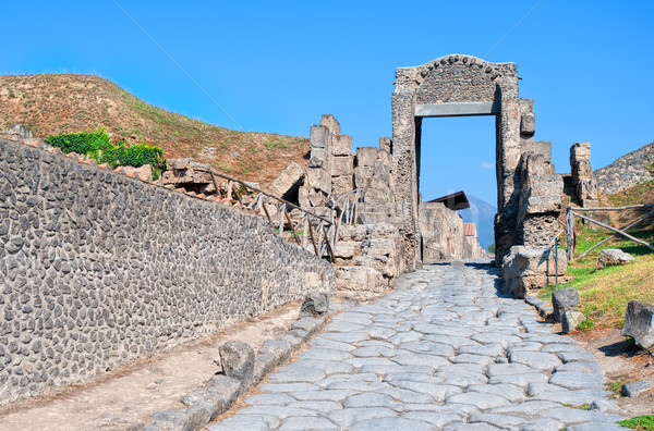 Cobbled street in antique roman town Pompeii, Naples, Italy Stock photo © Xantana