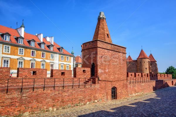 Vermelho tijolo paredes torres pólvora torre Foto stock © Xantana
