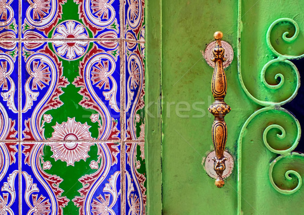 Traditional moroccan ornamented door handle Stock photo © Xantana