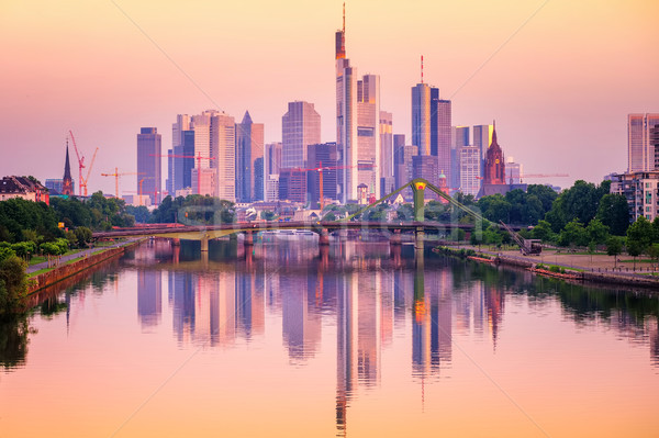 Frankfurt skyline reflecting in Main river, Germany Stock photo © Xantana