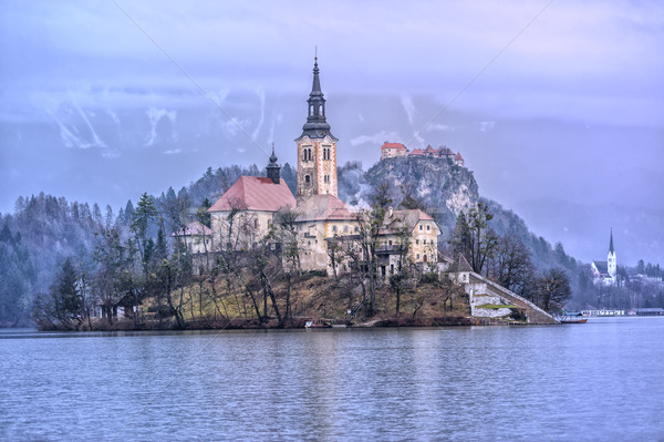Vergine chiesa lago isola Slovenia albero Foto d'archivio © Xantana