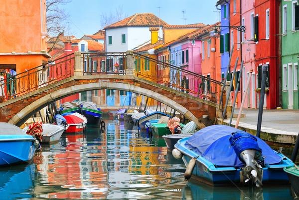 Colorido casas Venecia Italia hogares barco Foto stock © Xantana