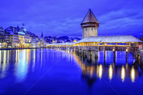 Chapel Bridge in Lucerne Old Town, Switzerland Stock photo © Xantana