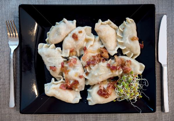 Traditional polish Pierogi stuffed dumplings Stock photo © Xantana