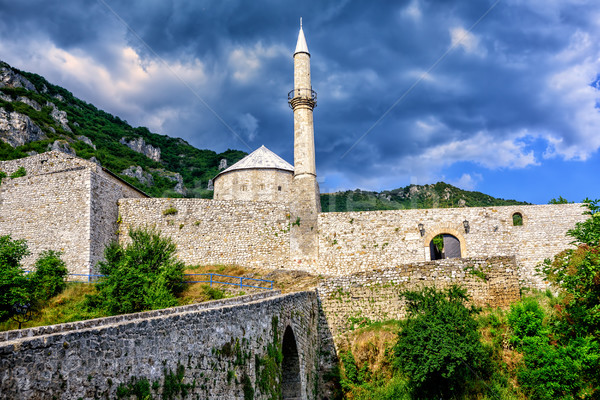 Stone fortress with a mosque in Travnik, Bosnia Stock photo © Xantana