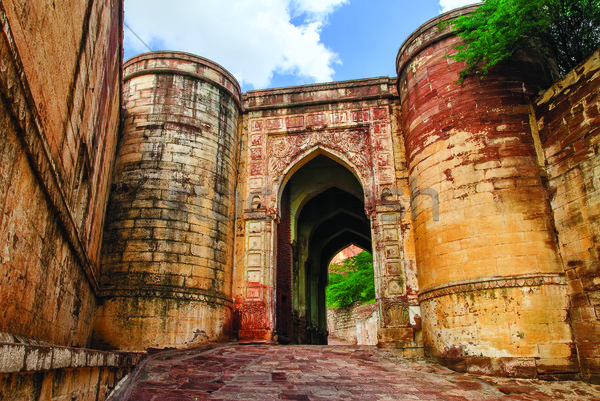 Massive stone gates of Mehrangarh Fort, Jodhpur, India Stock photo © Xantana