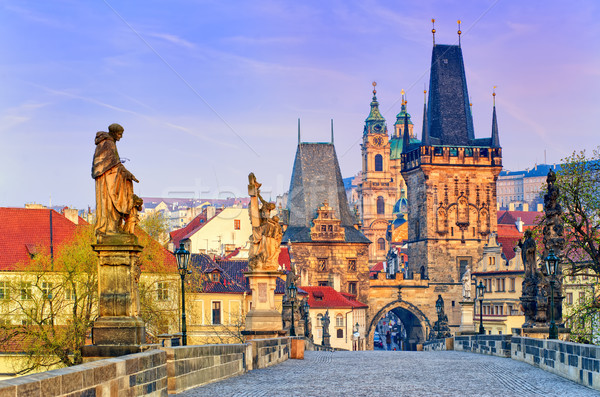 Stok fotoğraf: Köprü · Prag · Çek · Cumhuriyeti · towers · gün · batımı