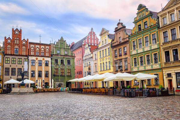 öreg piactér tér otthon épületek szín Stock fotó © Xantana