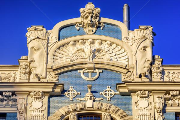 Art nouveau gebouw detail historisch oude binnenstad centrum Stockfoto © Xantana