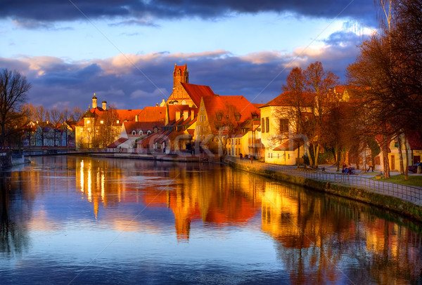 Old gothic town Landshut, the former capital of Bavaria, on Isar river, Germany Stock photo © Xantana