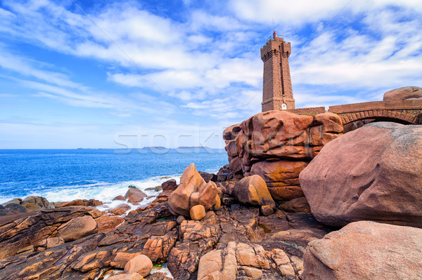 Lighthouse of Ploumanach on Cote de Granit Rose, Brittany, Franc Stock photo © Xantana